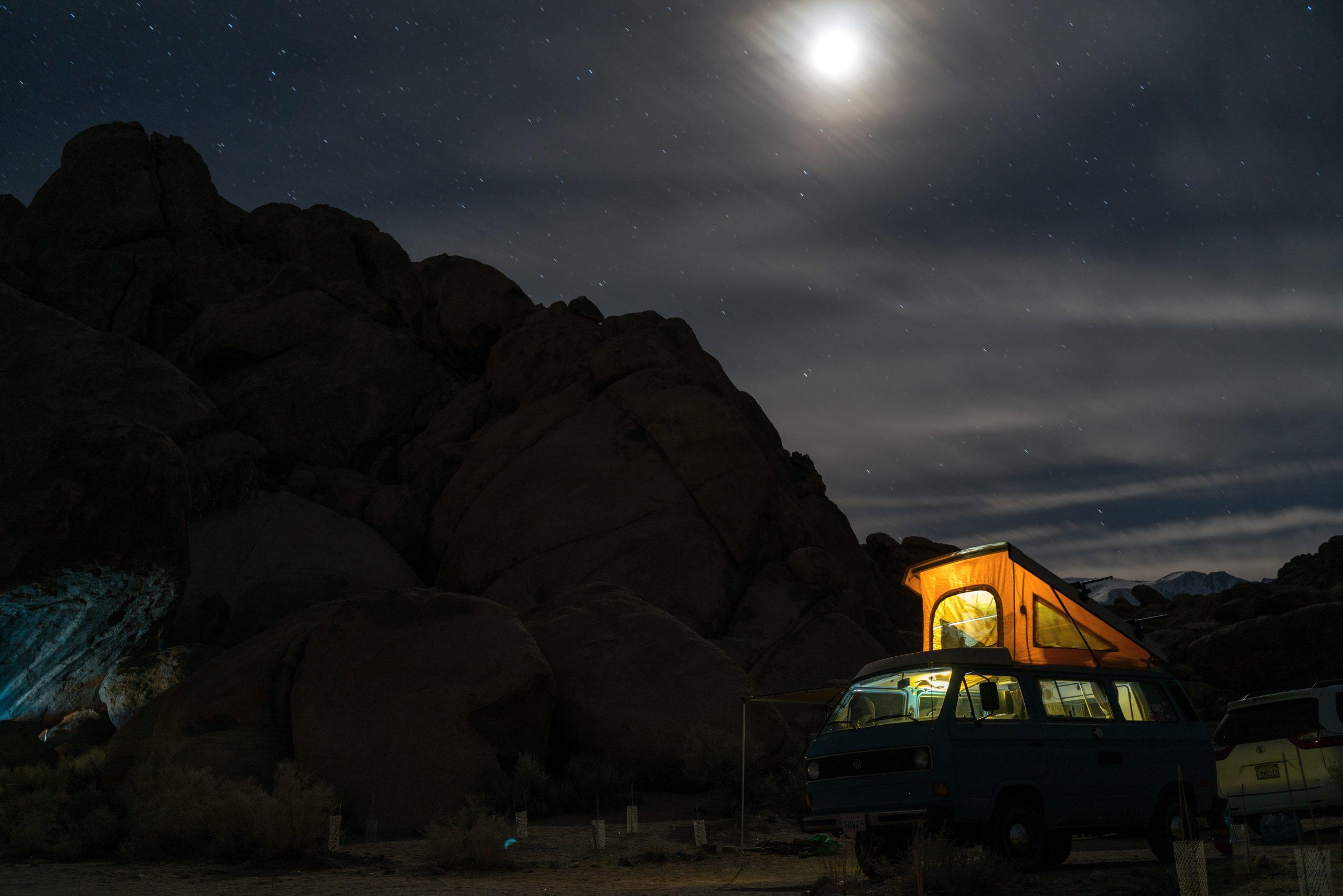 parked van near mountain